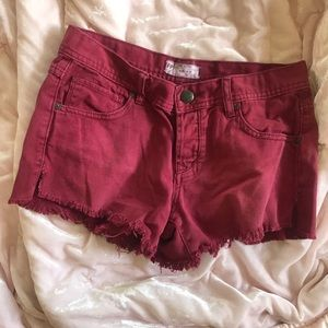 Free people red maroon cutoff shorts 26